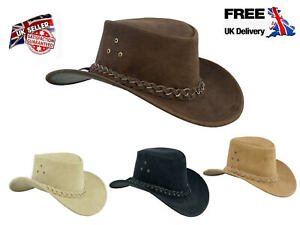 Australian Western style Cowboy Hat Real Leather with Chin Strap