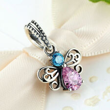 Butterfly Silver CZ European Charm Beads Fit 925 Pendant Necklace Bracelet