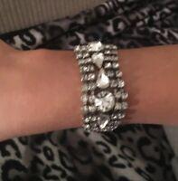 "Vintage Clear Glass Prong Set Rhinestone Bracelet Silver Tone 7"""