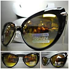 CLASSIC VINTAGE RETRO CAT EYE Style SUN GLASSES Black & Silver Frame - Gold Lens