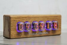 NIXIE TUBE CLOCK WITH IN-12 TUBES ASSEMBLED, REMOTE CONTROL, WOODEN ASH CASING