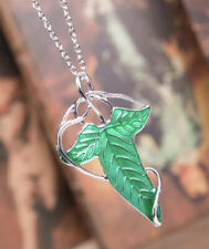 Lord of The Rings Green Leaf Of Lorien Elven Pin Brooch Necklace 2.5�