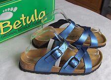 NEW Betula By Birkenstock Ladies Metallic Blue Mules Sandals UK Size 5.5 EU 39
