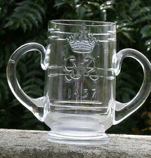 THOMAS WEBB ROYAL CORONATION GEORGE VI 1937 GLASS LOVING CUP ENGRAVED MONOGRAM