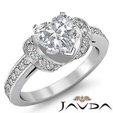 Pre-Set Heart Shape Antique Diamond Engagement Ring GIA F SI1 Platinum 1.5 ct