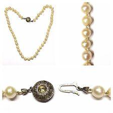 Agua Dulce Collar perlas 333 Oro Blanco Oro Cierre Joyas Perlas Perlas Blanco
