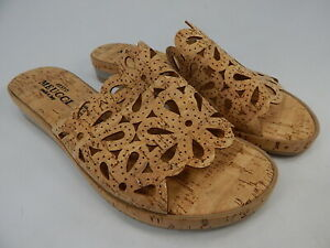 Sesto Meucci Sarny Sz 8.5 W WIDE Women's Perforated Nubuck Leather Slide Sandals
