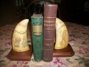 """""""ARTEK FAUX SCRIMSHAW WHALE TOOTH BOOKENDS LIBERTY PEACOCK LE EPERVERE"""