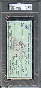 Max Carey 2x Signed 1971 Check PSA/DNA Authentic Autograph AUTO Pirates HOF