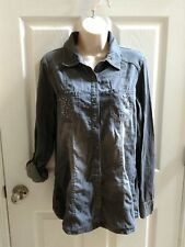 NWOT Maurice's Premium Embellished Button Up Washed Out Faded Denim Shirt Medium