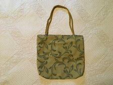 Vintage 90s Hand Made Tote Upholstery Drew Barrymore Grunge Army Green