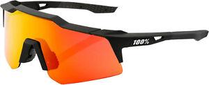 100% Speedcraft XS Sunglasses Soft Tact Black (HiPER Red Multilayer Mirror Lens)