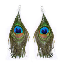 Natural PEACOCK Feather EARRINGS Costume Jewellery Boho Long Beautiful