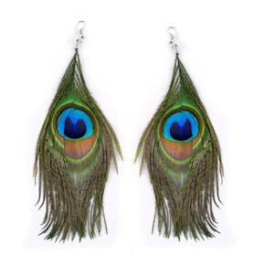 Natural PEACOCK Feather EARRINGS Costume Jewelry Boho Long Beautiful