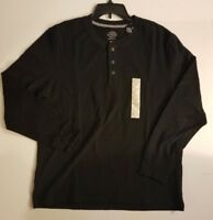 St Johns Bay Men's Black Long Sleeve Henley Shirt S M L XL XXL NWT SHIPS FAST