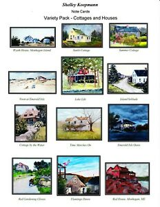 """""""Cottages abnd Houses""""   box of 12 Assorted Notecards"""
