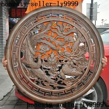 """32""""Collection old Chinese Boxwood Wood Carving Feng shui Dragon Phoenix Statue"""