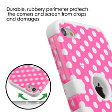 For iPod Touch 5th & 6th Generation - HYBRID ARMOR CASE COVER PINK POLKA DOTS