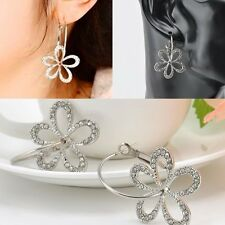 Flower StudEarring Hoop Jewelry d Women Elegant Silver Plated Crystal Rhinestone