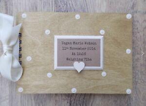Personalised Newborn Baby Memories Wooden Scrapbook Photo Album Guest Book Gift