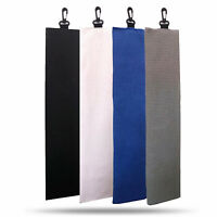 "Trifold Microfiber Waffle Golf Towel 16""*24"" With Hook Cleans Clubs Balls Hands"
