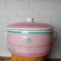 "Caleca CAA7 Covered Casserole dish With Lid 7"" Pink White Handles"
