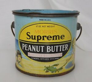 Morris Supreme Peanut Butter Advertising Food Tin Pail Can - 83931