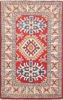 Geometric Super Kazak Vegetable Dye Oriental Area Rug Wool Hand-Made Carpet 2x3