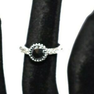 Excellent Cut 925 Sterling Silver Black Diamond Rings 1.90 Ct White Gold Finish.