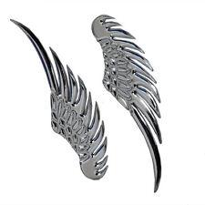 1 Pair 3D Chrome Metal Silver Emblem Angel Hawk Wings Car Sticker Decor Decal