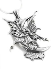 """Stargazer Sterling Silver Amy Brown Moon Fairy Pendant 18"""" Snake Chain Necklace"""