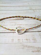 Multicolored cord bracelet With Heart Pendant, women, lady, girls