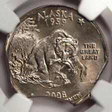 2008 NGC MS62 Triple Curved Clips Alaska Major Mint Error Golden Toning Rare