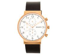 Skagen Men's 40mm Ancher Leather Watch - Black/Rose Gold