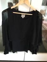 GO SILK Black Silk  Blouse Medium New Without Tags