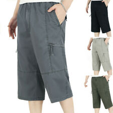 Mens Cotton 3/4 Cargo Short Pants Below Knee Gym Camping Fishing Trousers