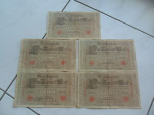 1910 Germany 1000 Mark Bank Note x5