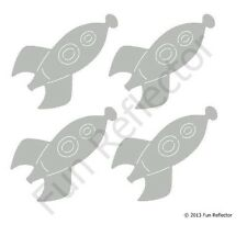 Silver Rocket Bicycle Reflective Stickers Decals