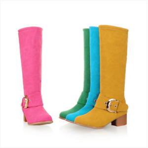 Ladies Winter Knee High Boots Chunky Heels Buckle Candy Color Warm Shoes Plus SZ