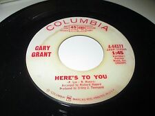 "CARY GRANT Here's To You / Christmas Lullaby 45 7"" VG+ US COLUMBIA VINYL PROMO"