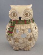 Owl Tea Light Candle Holder Ceramic White With Grey Accents Scarf Bird Animal