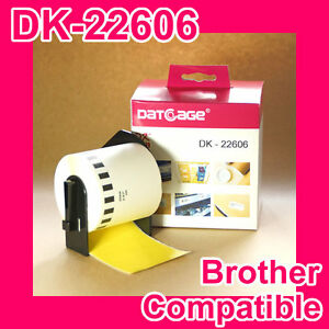 8 Roll of Compatible Brother DK-22606 Yellow Continuous Film Roll