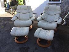 Two Cream Leather Ekornes Stressless Chairs With Matching Footstools