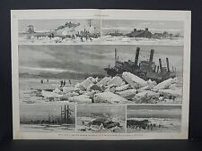 Harper's Weekly Double Page S3#3 Apr 1883 Upper Mississippi Arctic Scenes