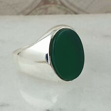 Solid 925 Sterling Silver Signet Green Agate Gemstone  Men Ring Turkish Ottoman