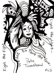 ACEO Face the Face Lyrics Zen Doodle Tangle Design Art zentangle Penny StewArt