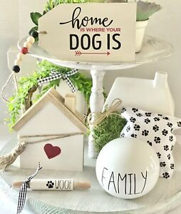Farmhouse tiered tray set of 5 lot Wood sign Dog Pet Family Summer Spring Black