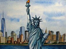 Painting New York City Downtown Manhattan Skyscrapers Statue of Liberty 5x7 Art