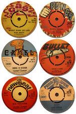 Reggae Record Label Coasters Set Of 6. High Quality Cork Backed Music Gift. Pama