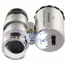 60x Pocket Magnifying Microscope Handheld Loupe Loop Magnifier Jewelry LED Light